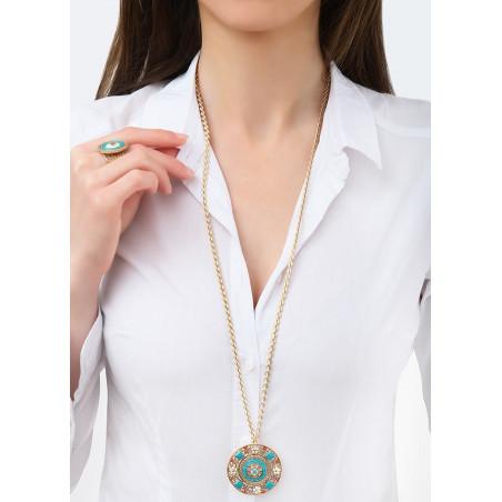Beautiful Japanese seed beads crystal sautoir necklace | Blue83722