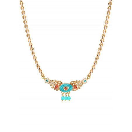 Ethnic chic amazonite crystal chain necklace   Blue