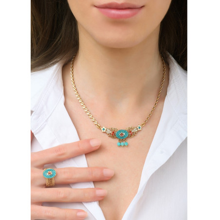 Ethnic chic amazonite crystal chain necklace   Blue83732