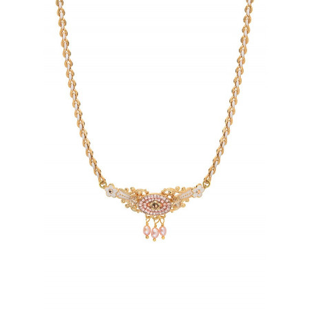 Refined chic freshwater pearl crystal chain necklace | Pink