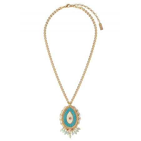 Fashionable amazonite and Swarovksi crystal pendant necklace | Blue