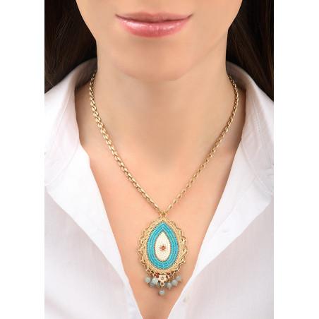 Fashionable amazonite and Swarovksi crystal pendant necklace | Blue83742
