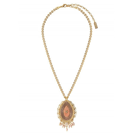 Sophisticated freshwater pearl crystal pendant necklace   Pink