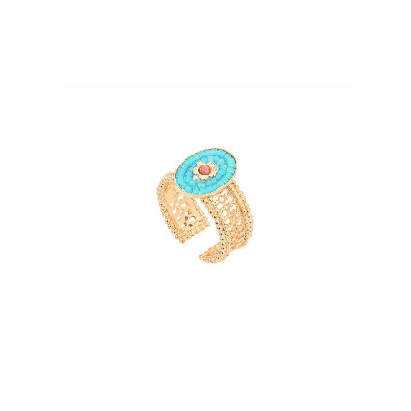 Charming Japanese seed bead and Swarovksi crystal adjustable ring   Blue
