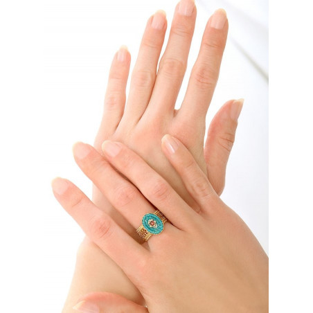 Charming Japanese seed bead and Swarovksi crystal adjustable ring   Blue83752