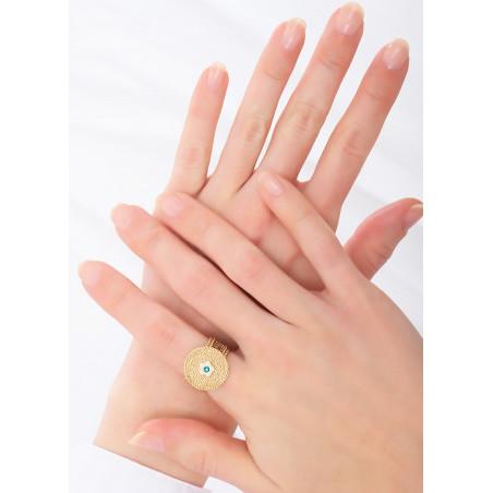 Round crystal adjustable ring | Blue83762