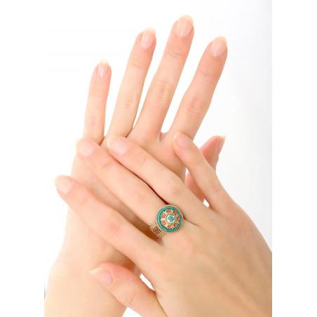 Summery crystal and Japanese seed bead adjustable ring| Blue83772