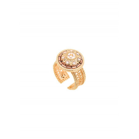 Romantic crystal and Japanese seed bead adjustable ring| Pink