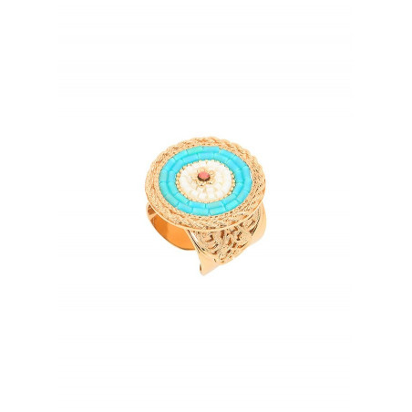 On-trend crystal and Japanese seed bead adjustable ring  Blue