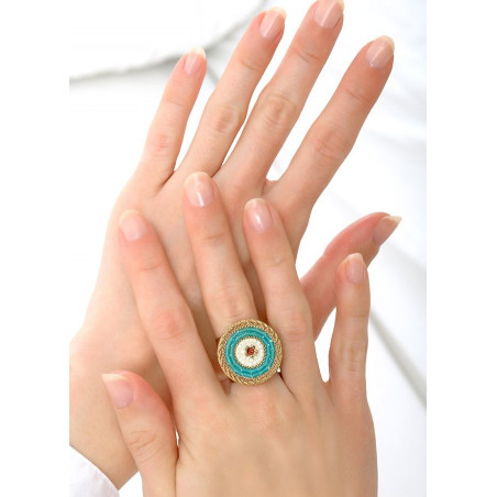 On-trend crystal and Japanese seed bead adjustable ring  Blue83782