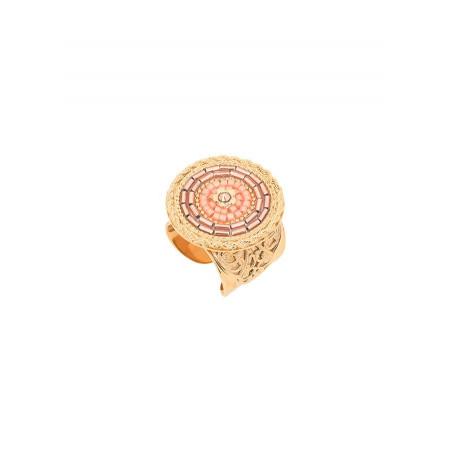 Bague ajustable mode cristaux et perles du Japon | rose
