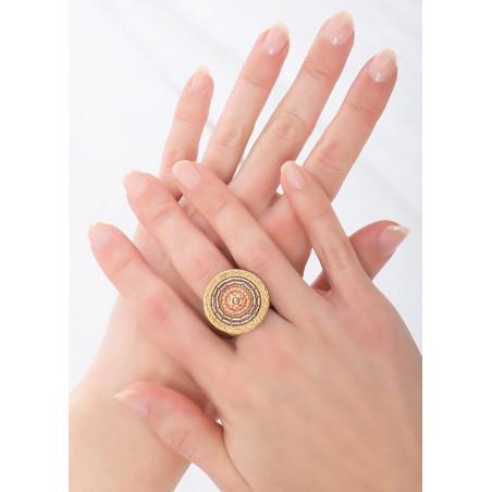 Bague ajustable mode cristaux et perles du Japon | rose83787