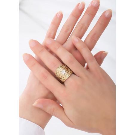 Bague ajustable romantique métal et cristal | rose83797