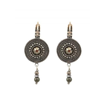 Boucles d'oreilles dormeuses raffinées cristal métal   argenté