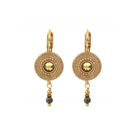 Feminine sleeper earrings with crystal metal l Yellow