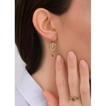 Feminine sleeper earrings with crystal metal l Yellow83805