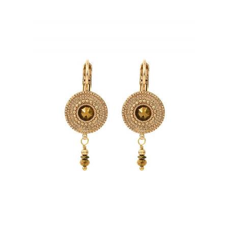 Boucles d'oreilles dormeuses précieuses cristal métal | doré