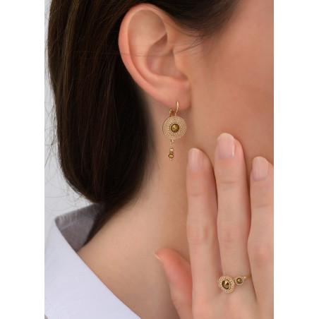 Boucles d'oreilles dormeuses précieuses cristal métal | doré83810