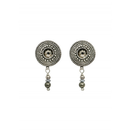 Refined crystal and metal earrings for pierced ears   Silver-plated