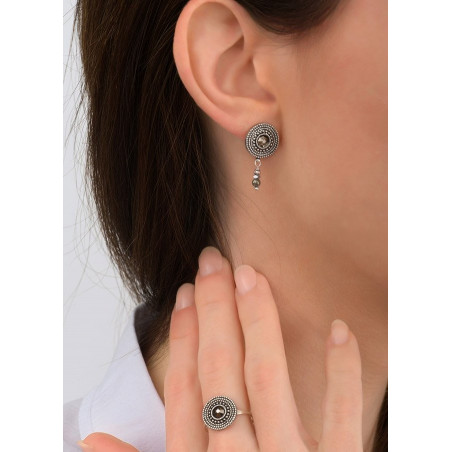 Refined crystal and metal earrings for pierced ears   Silver-plated83815