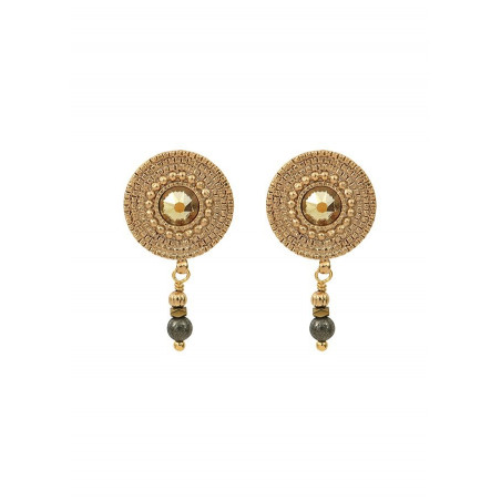 Feminine earrings for pierced ears with crystal and metal l yellow