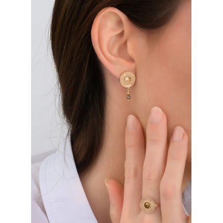Feminine earrings for pierced ears with crystal and metal l yellow83820