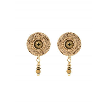 Precious crystal and metal earrings for pierced ears | gold-plated