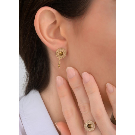 Precious crystal and metal earrings for pierced ears | gold-plated83825