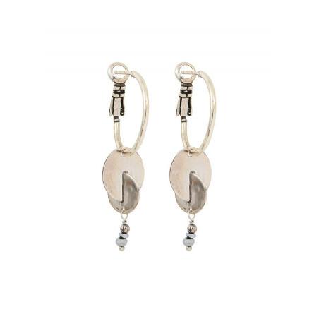Boucles d'oreilles créoles percées modernes pyrite et métal | argenté