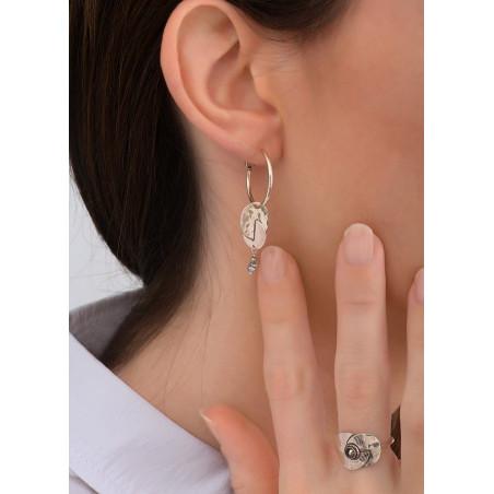 Boucles d'oreilles créoles percées modernes pyrite et métal | argenté83830