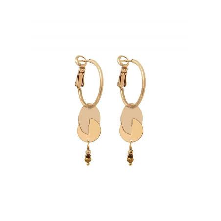 Elegant glass bead and metal hoop earrings for pierced ears | gold-plated
