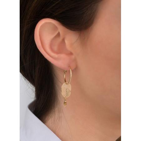 Elegant glass bead and metal hoop earrings for pierced ears | gold-plated83835
