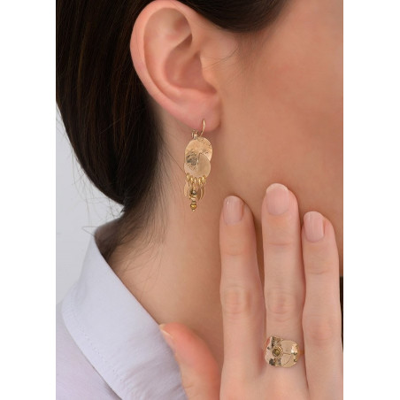Light pyrite and metal sleeper earrings| gold-plated83845