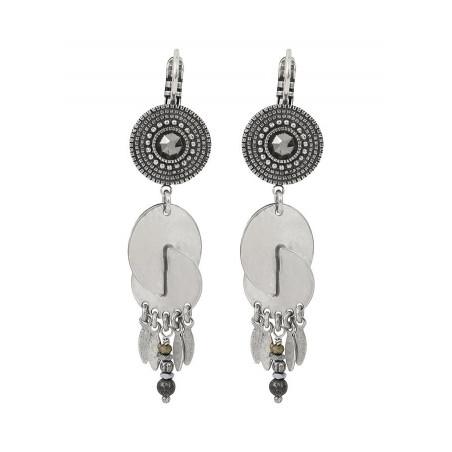 Boucles d'oreilles dormeuses modernes cristal et métal | argenté