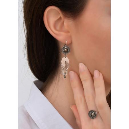 Boucles d'oreilles dormeuses modernes cristal et métal | argenté83850