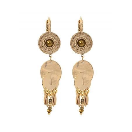 Boucles d'oreilles dormeuses ethniques cristal et métal | doré