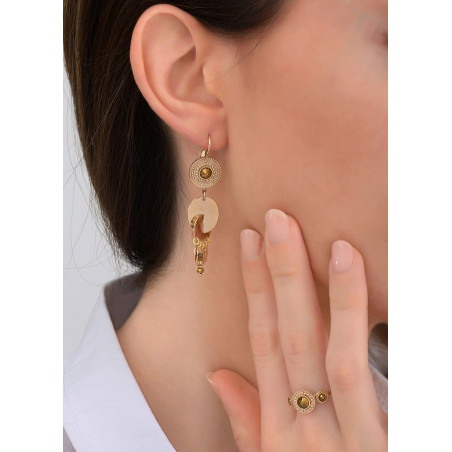 Boucles d'oreilles dormeuses ethniques cristal et métal | doré83855