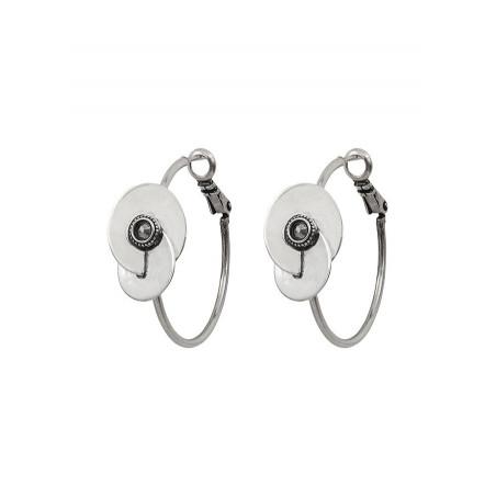 Boucles d'oreilles créoles percées arty cristal et métal | argenté