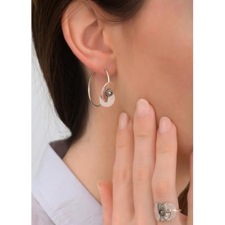 Boucles d'oreilles créoles percées arty cristal et métal | argenté83870