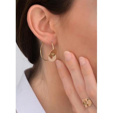 Boucles d'oreilles créoles solaires cristal et métal   doré83875