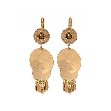 Boucles d'oreilles dormeuses chics cristal et métal   doré