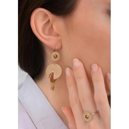 Boucles d'oreilles dormeuses chics cristal et métal   doré83885