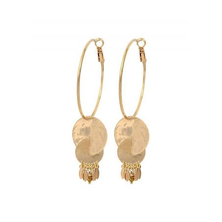 Boucles d'oreilles créoles percées raffinées hématite et métal | doré