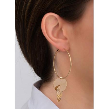 Boucles d'oreilles créoles percées raffinées hématite et métal | doré83895