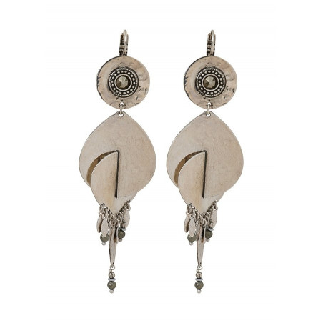 Boucles d'oreilles dormeuses graphiques métal et hématite | argenté