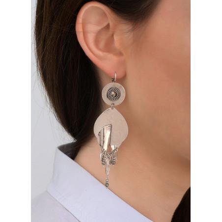 Boucles d'oreilles dormeuses graphiques métal et hématite | argenté83915