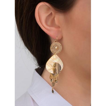Boucles d'oreilles dormeuses sensuelles métal et nacre | jaune83920
