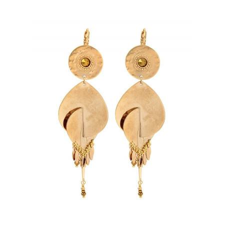 Boucles d'oreilles dormeuses tendance métal et cristal | doré