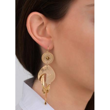Boucles d'oreilles dormeuses tendance métal et cristal | doré83925