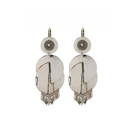 Boucles d'oreilles dormeuses féminines métal et cristal | argenté